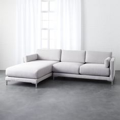 Shop district sectional with chaise. Left& configuration by Barcelona-based Mermelada Estudio lounges long and low with overscaled cushions and two arm pillows with extra cush. Mid Century Sectional, 2 Piece Sectional Sofa, Lounge Sofa, Couch, City Apartment Decor, Apartment Furniture, Chicago Apartment, Preppy Dorm Room, Sofas