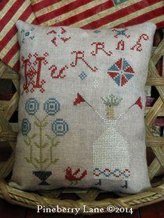 Hurrah Sampler Pillow Pattern designed by Pineberry Lane