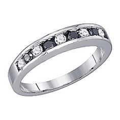 10K Solid White Gold 1/4Ct Black & White Real Diamond Invisible Anniversary Band by JewelryHub on Opensky