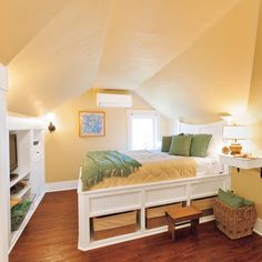 Built-in furniture, cabinets, and open shelves make use of every available space in this attic bedroom. | Photo: Susan Seubert | thisoldhouse.com