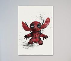 Stitch Deadpool Poster Watercolor Print Poster by LaDecorColor