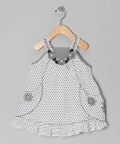 Black Polka Dot Pocket Dress - Infant, Toddler & Girls