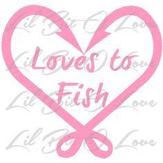 Loves to Fish Fishing Hook Heart Vinyl Decal Sticker Fishing Car Auto | LilBitOLove - Housewares on ArtFire