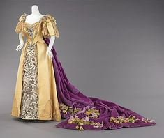 Court presentation ensemble 1896 Emily Warren Roebling, wore this gown for her formal presentation to Queen Victoria in 1896.  Roebling was the wife of Washington Augustus Roebling (1837-1926), the chief engineer of the Brooklyn Bridge, and took over day-to-day supervision of the project for a period of fourteen years after husband became ill and was unable to visit the construction site.