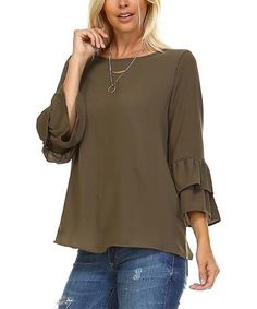 Loving this Olive Ruffle-Sleeve Top on #zulily! #zulilyfinds