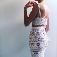 Crochet and knitt designer. 2 Piece Outfits, Sexy Outfits, Two Piece Outfit, Crochet Two Piece, Knit Crochet, Crochet T Shirts, Crochet Clothes, Vanessa Montoro, Jolie Lingerie