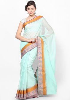 Supernet Cotton Silk Fancy Banarasi Border Green Saree Online Shopping - Bunkar | BU651WA00NIPINDFAS
