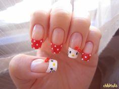 Hello Kitty nail art. Cute ♥