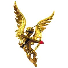 Romantic Whimsical Enamel Gold Angel Cupid Cherub Pin | From a unique collection of vintage brooches at https://www.1stdibs.com/jewelry/brooches/brooches/