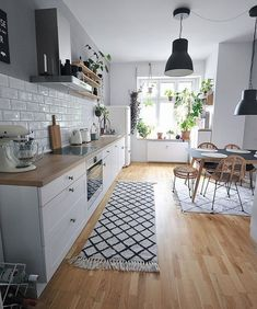 modern farmhouse kitchen design with butcher block counters and white kitchen . - modern farmhouse kitchen design with butcher block counters and white kitchen cabinets white subway backsplash and extractor hood eat-in kitchen with Home Decor Kitchen, Interior Design Kitchen, Home Kitchens, Kitchen Ideas, Kitchen Hacks, Diy Kitchen, Simple Interior, Kitchen Layout, Kitchen Furniture