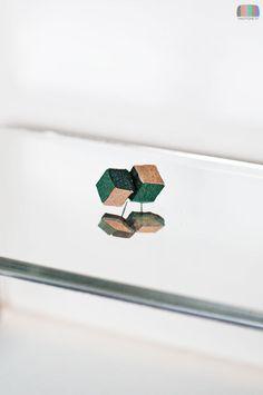 Mossy Wood Necker Cube Earrings  Impossible Object Jewelry, $9.00