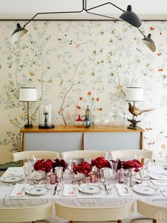 Framed de Gournay wallpaper and a bloom-filled setting at Laura Vinroot Poole's Charlotte, NC home