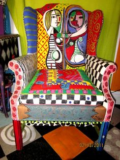 Awesome hand painted chair by Monapaints on etsy