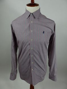 Thomas Pink London Stripe Button Front Long Sleeve Shirt Men Large L $185 Retail #ThomasPink #ButtonFront
