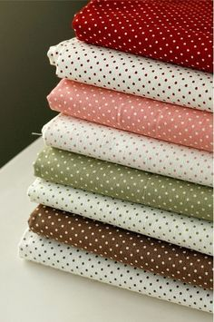 Lovely Polka Dot Linen blended Fat Eighth set of 8 U1257 by SonSu