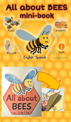All about bees mini-book English-Spanish Science Week, 1st Grade Science, Kindergarten Science, Science For Kids, Bee Activities, Physical Activities For Kids, Bees For Kids, Bee Facts, Abc Phonics