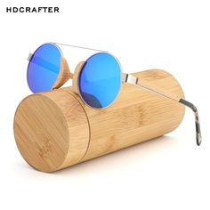 5f863a113ee HDCRAFTER Mirrored Round Bamboo Sunglasses with Polarized UV400 Lenses