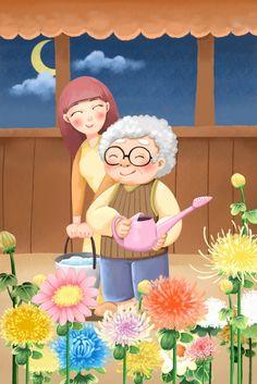 Family Drawing, Baby Drawing, Drawing For Kids, Chrysanthemum, Medical Wallpaper, Family Illustration, Woman Drawing, Beautiful Drawings, Old Men