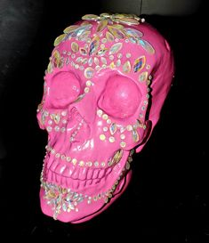 Pink Sugar Skull Music Fest, Pink Sugar, Pin Up Girls, Sugar Skull, Candle Holders, Stone, Candlesticks, Sugar Skulls, Porta Velas