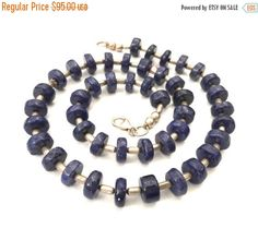 Lapis and Sterling Silver Necklace Natural Lapis by Vintageimagine
