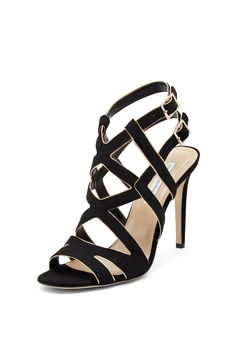 DVF Valene glitter strappy heel in Black