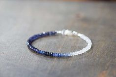 Rainbow Moonstone, Iolite & Sapphire Bracelet, Delicate Shaded Blue Sapphire Jewelry, Multi Gemstone Stacking Moonstone Bracelet