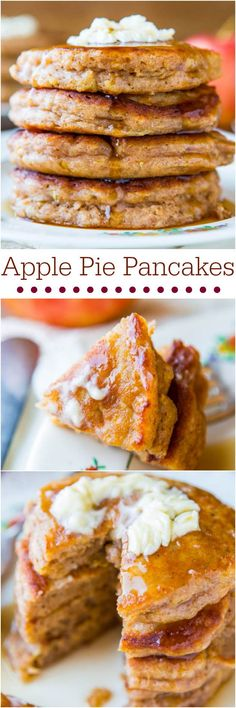 Apple Pancakes with Vanilla Maple Syrup — These apple pancakes are packed with cinnamon and other fall spices. Slather with butter and dunk them in some homemade vanilla maple syrup! What's For Breakfast, Breakfast Pancakes, Breakfast Dishes, Breakfast Recipes, Dessert Recipes, Pancake Recipes, Pancakes Easy, Perfect Breakfast, Vegan Breakfast