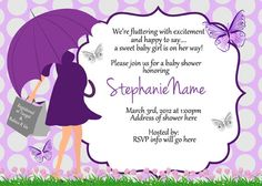 Butterfly Baby shower Umbrella Invitations Digital Print as many as you need on Etsy, $6.00