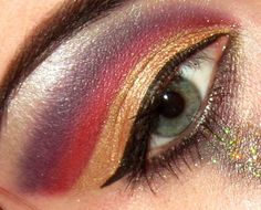 Gold, red, purple! Fake tears on the bottom not fully shown lol