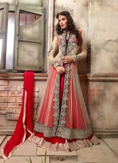 Fantastic Red Indo Western Net With Georgette AnarkalI Suit http://www.angelnx.com/