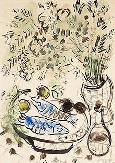 MARC CHAGALL, Still life with flowers and fish. - Bukowskis