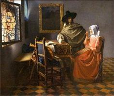 Jan Vermeer (Johannes Vermeer), Delft 1632 - 1675 Herr und Dame beim Wein / The Glass of Wine Gemäldegalerie Berlin Johannes Vermeer, Google Art Project, Glass Photo Prints, Wein Poster, Vermeer Paintings, Oil Paintings, Dutch Golden Age, Dutch Painters, Dutch Artists