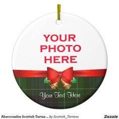 Abercrombie Scottish Tartan Christmas Photo Double-Sided Ceramic Round Christmas Ornament