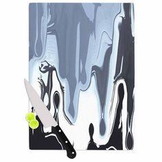 "Nina May ""Gray Drip"" Black White Cutting Board"