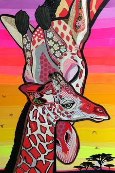 """Love from Above"" Cut paper collage by Laura Yager - Donated Artwork for Zoo Boise auction 2017 Giraffe Art, Giraffes, Pop Art Costume, Fantasy Art Warrior, Paper Art Projects, Art Quotes Funny, Paper Collage Art, Collaborative Art Projects, Canvas Art Quotes"