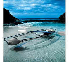 "The Transparent Canoe Kayak  ""This canoe-kayak hybrid has a transparent polymer hull that offers paddlers an underwater vista of aquatic wildlife and waterscapes unavailable in conventional boats. Seating two people, the sturdy canoe hull is made of the same durable material found in the cockpit canopies of supersonic fighter jets...."" Lightweight anodized frame construction. Comes with 2 double headed paddles, water bailer, 2 flotation devices."