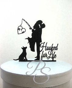 Personalized Wedding Cake Topper Hooked on Love 3 with