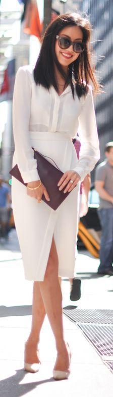 White Split Wrap High Rise Midi Skirt by 9to5 Chic $49 #minimalist #fashion #style