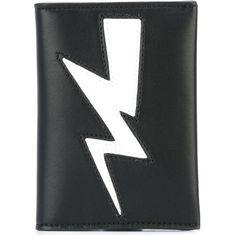 Neil Barrett lightning bolt wallet ($144) ❤ liked on Polyvore featuring men's fashion, men's bags, men's wallets, black and neil barrett