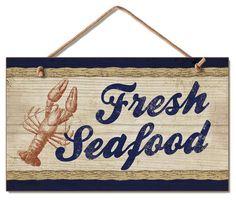 Fresh Seafood Wood Wall Sign