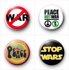 Peace NOT War button badges