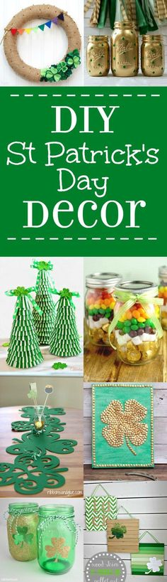 28 DIY St Patrick's Day Decorations DIY St Patrick's Day Decorations and home decor. Make beautiful, easy, and frugal DIY decor for St Patrick's with green and rainbows with these lucky 28 DIY St Patrick's Day Decorations ideas. St Patrick's Day Crafts, Holiday Crafts, Holiday Fun, Decor Crafts, Diy And Crafts, Crafts For Kids, Holiday Ideas, Diy St Patricks Day Decor, St Patricks Day Food