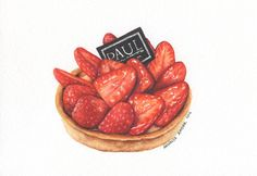 Paul Patisseries Strawberry Tart Original by ForestArtStudio