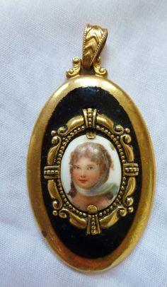 LOVELY Vintage Antique Porcelain Lady Portrait by vintagelady7,