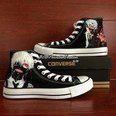 Men Sneakers Converse All Star Tokyo ghouls Ken Kaneki Black Canvas Shoes with Hand Painting Fashion Shoes
