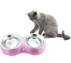 TASIRO Bling Bling Rhinestones Stainless Steel Double Diner Pet Bowl / Pet Feeder For Small Pets Puppy Cats -- Additional details found at the image link  : Dog bowls