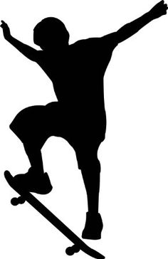 Sports Silhouette Wall Decals - Boy Skateboard 2 Silhouette - 12 inch Removable Graphic