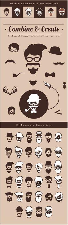 hipster logo, vector, beard, create, design