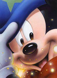 Smile: Sorcerer Mickey - by Tsuneo Sanda I fell in love with this canvas in Disney World, one purchase I didn't make & should've! Walt Disney, Disney Mickey Mouse, Disney Pixar, Retro Disney, Mickey Mouse E Amigos, Mickey E Minnie Mouse, Mickey Mouse And Friends, Disney Cartoons, Disney Animation