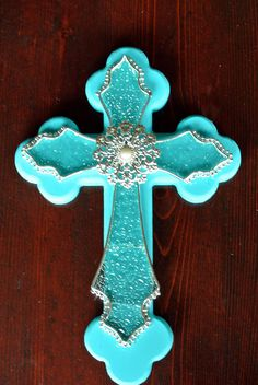 Layered Wooden Cross // Teal and Clear Glass Cross